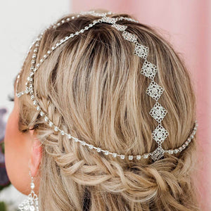 Silver Nicola Bridal Bohemian Head Chain from back