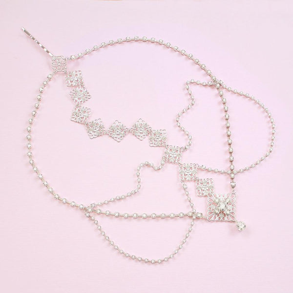 Silver Nicola Bridal Bohemian Head Chain on pink