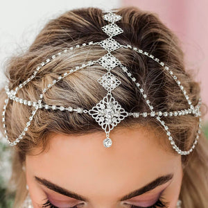 Silver Nicola Bridal Bohemian Head Chain from front