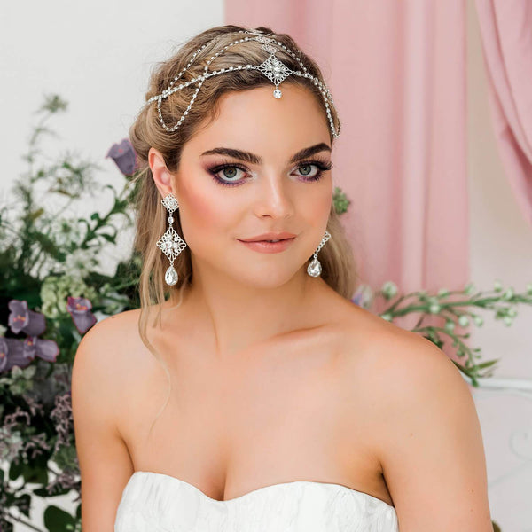 Silver Nicola Bridal Bohemian Head Chain from far