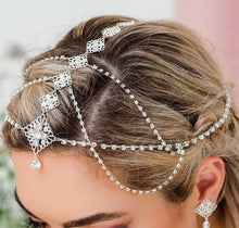 Load image into Gallery viewer, Silver Nicola Bridal Bohemian Head Chain from side