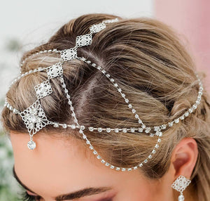 Silver Nicola Bridal Bohemian Head Chain from side