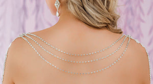 Silver Nicola Bridal Shoulder Necklace from back