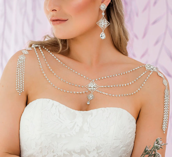 Silver Nicola Bridal Shoulder Necklace from front