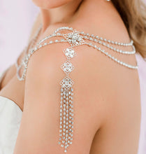 Load image into Gallery viewer, Silver Nicola Bridal Shoulder Necklace from side
