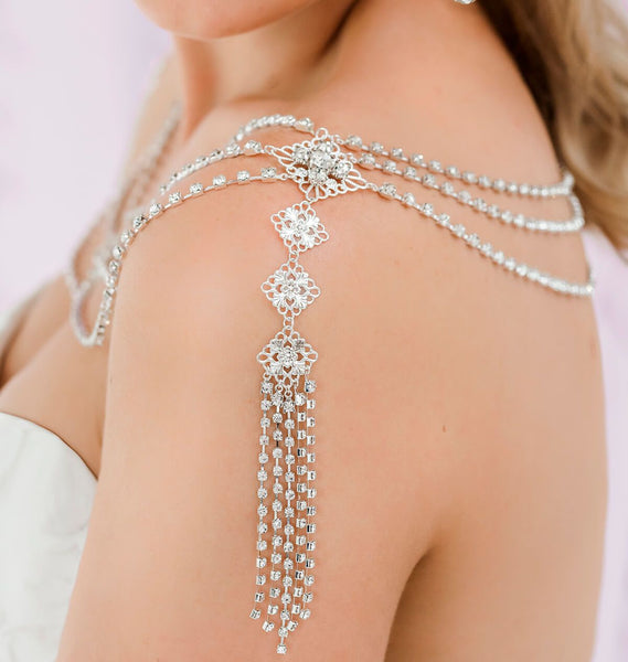 Silver Nicola Bridal Shoulder Necklace from side