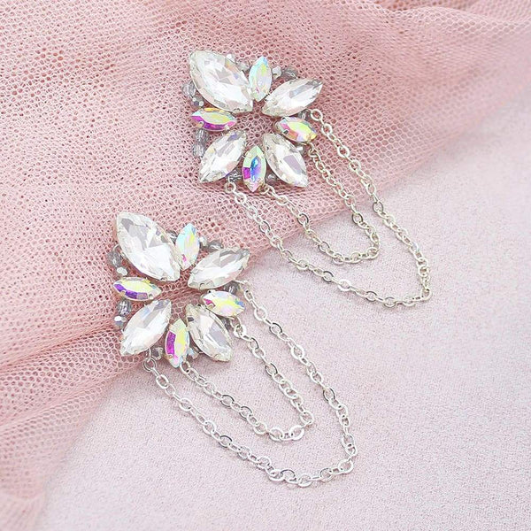 Silver Nikki Crystal Glam Earrings on pink