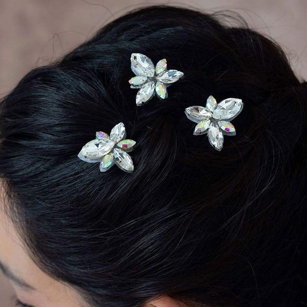 Nikki Crystal Hair Pins Set on top of hair