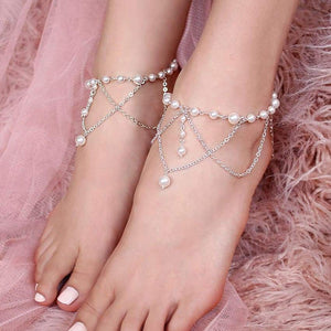 Off-white Ora Bridal Pearl Anklets from top