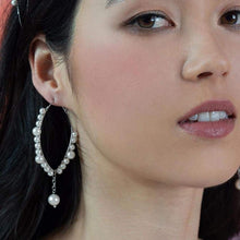 Load image into Gallery viewer, Off-white Ora Pearl Hoop Earrings from front