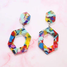 Load image into Gallery viewer, Prismatic Rainbow Hexagon Earrings