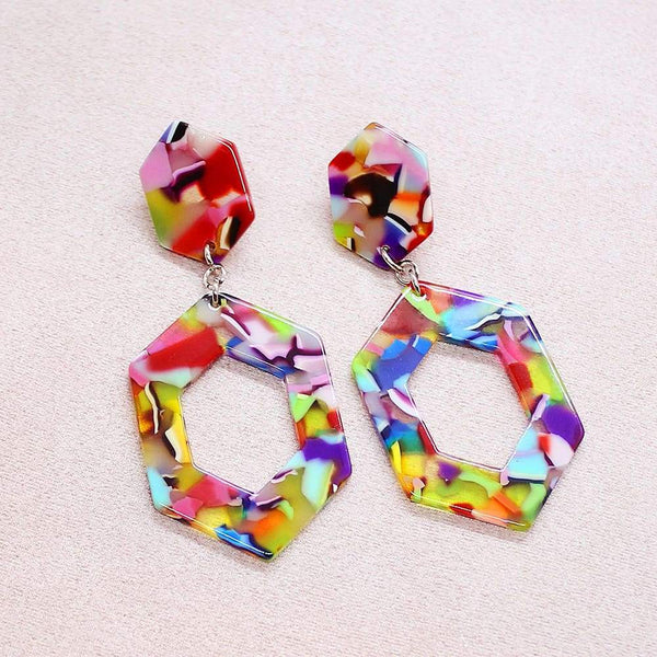 Prismatic Rainbow Hexagon Earrings