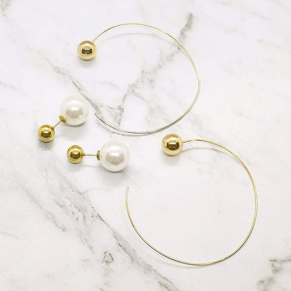 Rae Large Hoop and Pearl Ball Earrings pearl stud and gold hoop
