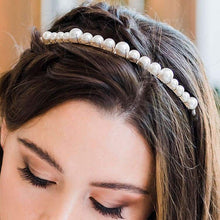 Load image into Gallery viewer, Silver Romee Pearl Headband from top