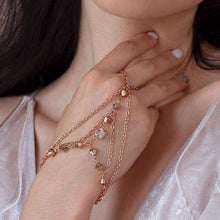 Load image into Gallery viewer, Rose gold Ryda bohemian hand chain from front