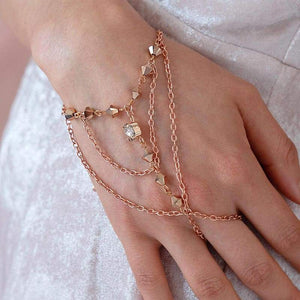 Rose gold Ryda bohemian hand chain from side