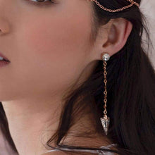Load image into Gallery viewer, Ryda rose gold earrings on left