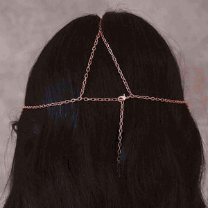 Rose gold Ryda bohemian headpiece from back