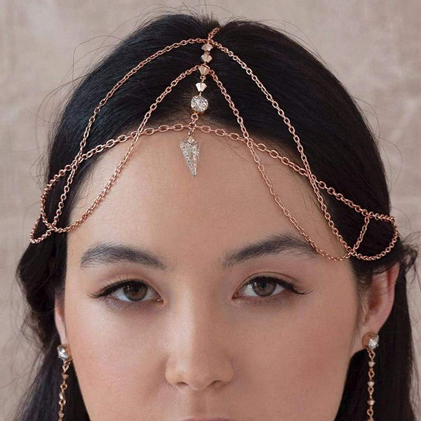 Rose gold Ryda bohemian headpiece from front