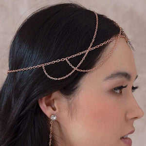 Rose gold Ryda bohemian headpiece from side
