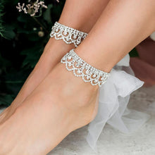 Load image into Gallery viewer, Silver Shiloh Tulle Ribbon Bridal Anklets