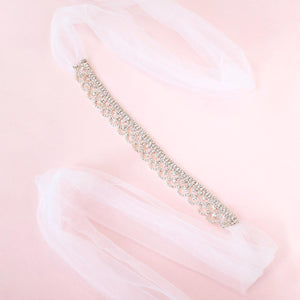 Silver Shiloh Bridal Headband Veil on pink