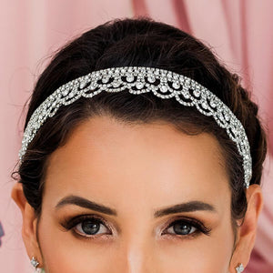 Silver Shiloh Bridal Headband Veil from front