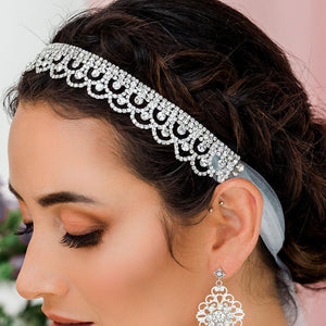 Silver Shiloh Bridal Headband Veil from side