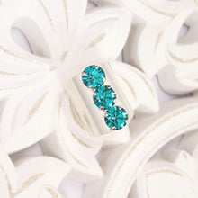 Load image into Gallery viewer, Silver with Blue Zircon Simone Crystal Statement Ring on white