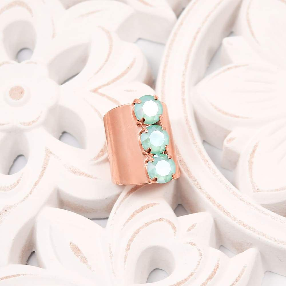 Rose Gold with Mint Simone Crystal Statement Ring on white