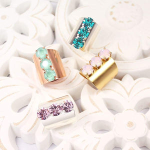 Set of Simone Crystal Statement Rings