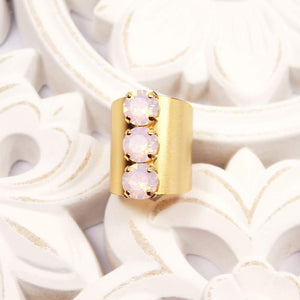 Gold with Pink Opal Simone Crystal Statement Ring on white