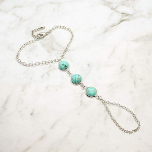 Skye Turquoise Hand Chain on grey