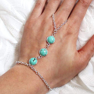 Skye Turquoise Hand Chain from top