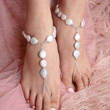 Load image into Gallery viewer, White Sloan Freshwater Pearl Barefoot Sandals from front