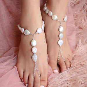 White Sloan Freshwater Pearl Barefoot Sandals from front