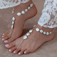 Load image into Gallery viewer, White Sloan Freshwater Pearl Barefoot Sandals from side