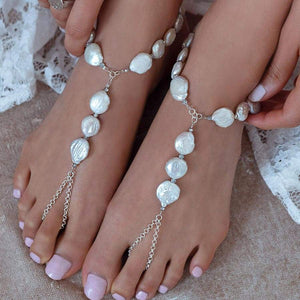White Sloan Freshwater Pearl Barefoot Sandals from top