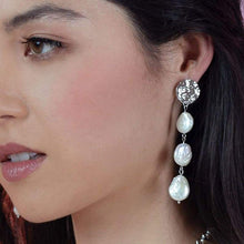 Load image into Gallery viewer, White Sloan Freshwater Pearl Earrings from side