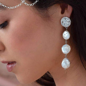 White Sloan Freshwater Pearl Earrings from side