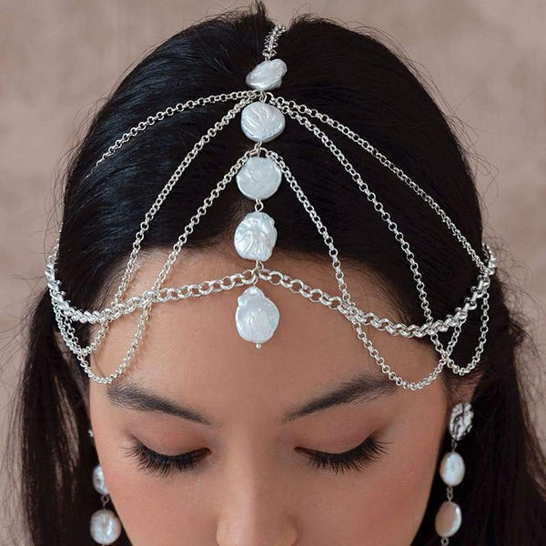 White Sloan Bohemian Headpiece looking down