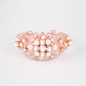 Rose gold Sylvia Vintage Style Wedding Bracelet on grey