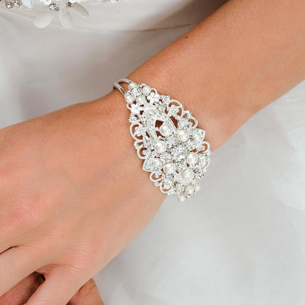 Silver Sylvia Vintage Style Wedding Bracelet from front