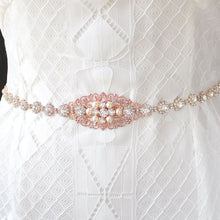 Load image into Gallery viewer, Rose gold Sylvia Bridal Belt from front