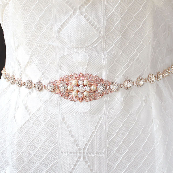 Rose gold Sylvia Bridal Belt from front