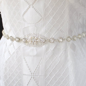 Silver Sylvia Bridal Belt from front