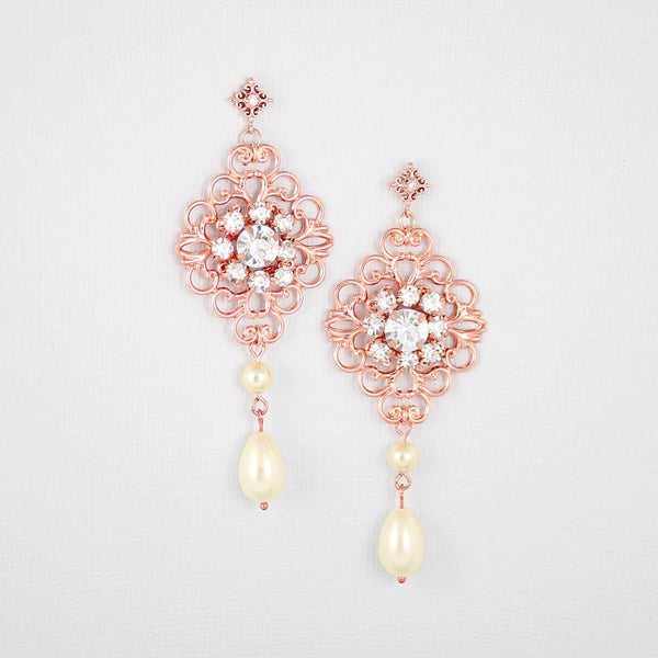 Rose gold Sylvia Bridal Victorian Earrings on silver
