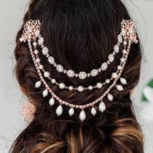 Load image into Gallery viewer, Rose gold Sylvia Bridal Hair Clip Headpiece from back