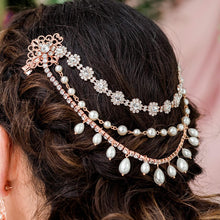 Load image into Gallery viewer, Rose gold Sylvia Bridal Hair Clip Headpiece from side