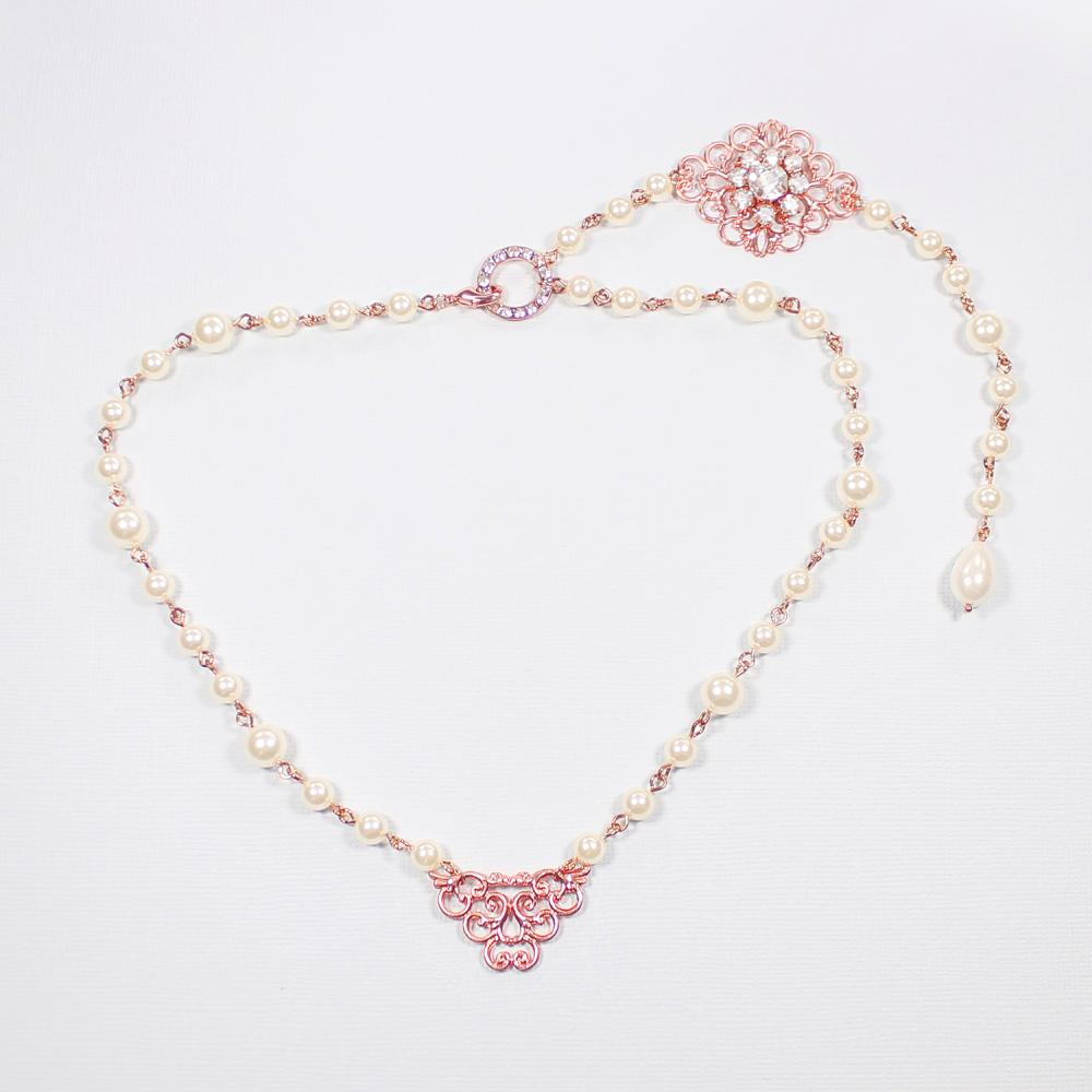 Rose gold Sylvia Bridal Back Necklace on grey